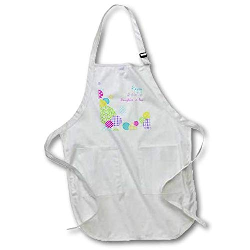 White 3dRose apr/_165133/_1 Happy Birthday Daughter-in-Law Modern Colorful Dots Pattern on White Full Length Apron with Pockets 22 x 30