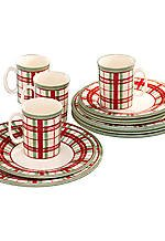 Christmas Tablescape Decor - Lenox Holiday Gatherings green & white plaid 12-piece stoneware dinnerware set