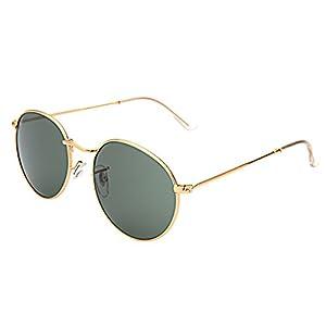 LianSan Classic Metal Frame Round Circle Mirrored Sunglasses Men Women Glasses 3447 green glass lenses …