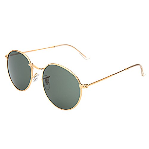 LianSan Classic Metal Frame Round Circle Mirrored Sunglasses Men Women Glasses 3447(Z-green) (For Sunglasses Women Oval)