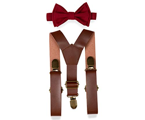 Brown PU Leather Suspenders Bow Tie Combo for Baby Toddler Boy Men (4. Adult (up to 5'6
