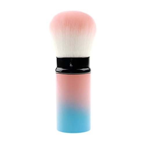 - Retractable Kabuki Make Up Brush, Blush Brush Cosmetics with Premium Quality Synthetic Dense Bristles for Girls Gifts (pink and blue(1))
