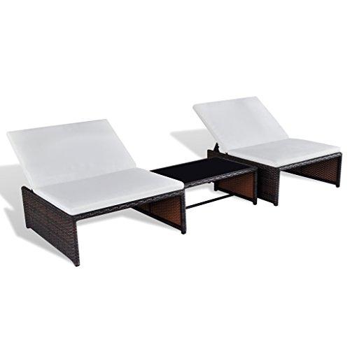 SSITG ratán tumbona Lounge de 2 unidades Camilla Muebles de Jardín ...