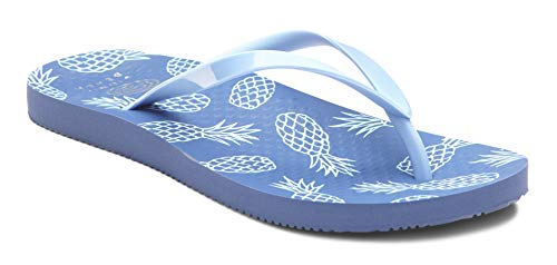 (Vioinc Women's Beach Noosa Flip-Flop Sandal - Ladies Thong Sandals Concealed Orthotic Arch Support Blue Pineapple 5 M US)