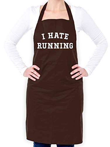 Dressdown I Hate Running - Unisex Fit Adult Apron - Brown - One Size from Dressdown