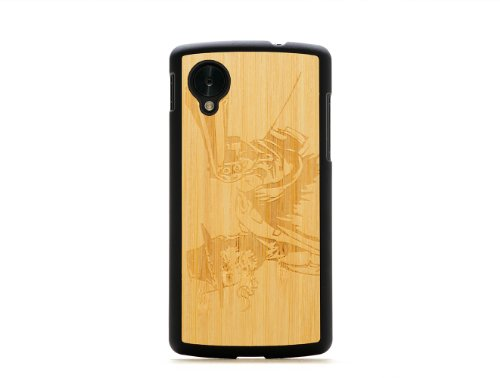 CARVED Matte Black Natural Bamboo Wood Case for Google Nexus 5 - Wild West (N5-BC1A-E-WWST)