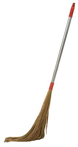Ivaan Steel Handle Eco Friendly Soft Grass Floor Broom Stick for Floor Cleaning (Phool Jhadu)