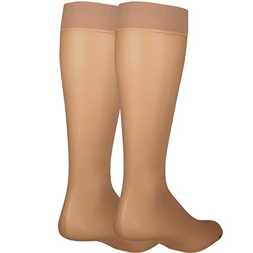 - NuVein Sheer Compression Stockings for Women Fashion Silky Sheen Denier Knee High, Beige, Large