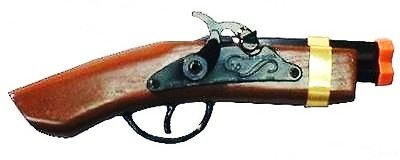 FLINTLOCK toy cap gun Jack Sparrow PIRATE COSTUME wood double barrel pistol NEW For Ages 6+ (Pirate Cap Guns)