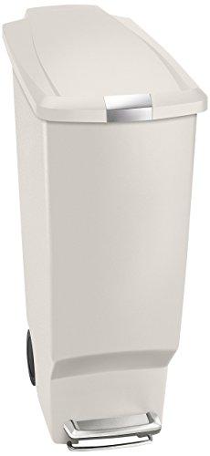 simplehuman 40 Liter / 10.6 Gallon Slim Kitchen Step Trash Can, Stone Plastic With Secure Slide Lock