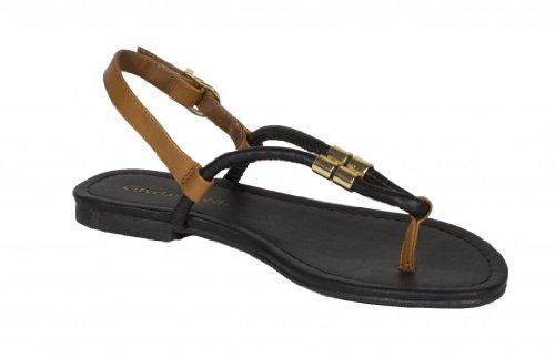 City Classified Womens Tabia Slingback Thong Sandal in Black Tan Leatherette RMDQ7U