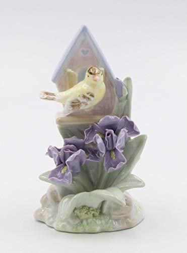 Goldfinch Bird Figurine - Cosmos Gifts Fine Elegant Porcelain Goldfinch Bird with Birdhouse and Iris Flowers Figurine, 5-1/4