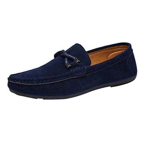 sólido de QinMM Zapatos Mocasines Gamuza Alpargatas Hombres Casual Zapatillas Plano Azul para de qdIqRCw0x