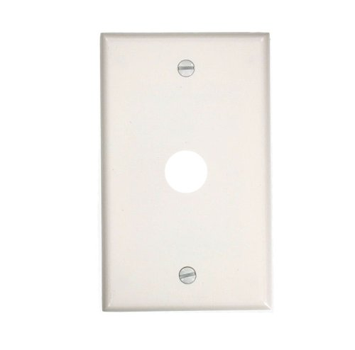 Leviton 88017 1-Gang .625-Inch Hole Device Telephone/Cable Wallplate, Standard Size, Thermoset, Box Mount, White