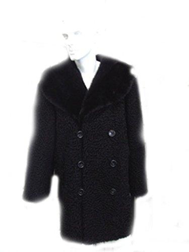 OLIVERFURS REFURBISHED NEW BLACK PERSIAN LAMB & MINK FUR COAT JACKET FOR MEN MAN size (Persian Lamb Fur Coat Jacket)