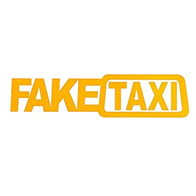 THE MIMI'S Fake Taxi Funny Car Sticker JDM Drift Race Vinyl Sticker Decal x2 (Yellow): Clothing