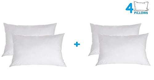 (The Great American Store - Set of 4 Indoor/Outdoor 6D Pillows (12 x 16) Pillow for Decorative, Bed Pillow Shams - Hypoallergenic, Siliconized Fiberfill (4)