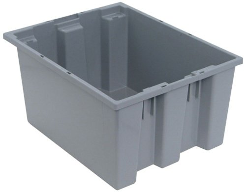 Quantum SNT190GY 19-1/2-Inch by 15-1/2-Inch by 10-Inch Stack and Nest Tote, Gray, 6-Pack