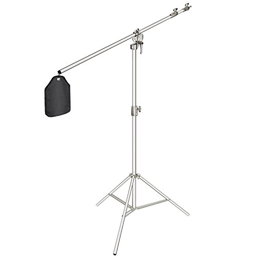 Neewer Photo Studio 2-in-1 Light Stand 48.4-151.5 inches Adjustable Height with 85-inch Boom Arm and Sandbag,Aluminum Alloy,for Supporting Umbrella Softbox Flash for Portrait Video Photography(Silver) by Neewer