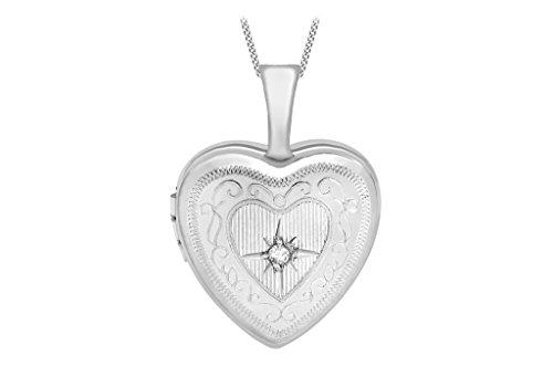 """Or blanc 9carats Diamant Petit médaillon coeur gravé sur Chaîne 46cm/18"""""""