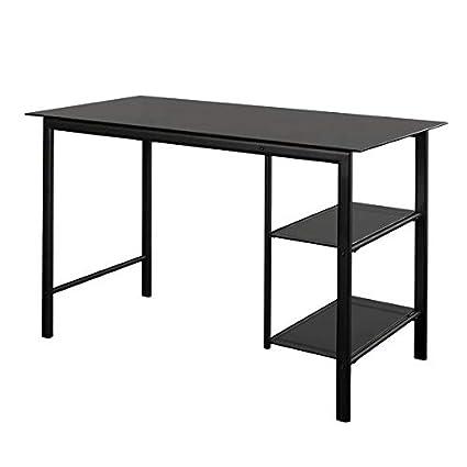 size 40 39768 df227 Amazon.com: Metal Desk with Glass Top - Rectangular Writing ...