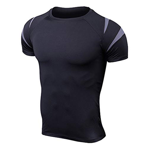 Gym Shirts For Men 2019,Liraly Mens Fitness Short Sleeves T-Shirt Skin Tight-drying Tops(Gray,US-S/CN-L)