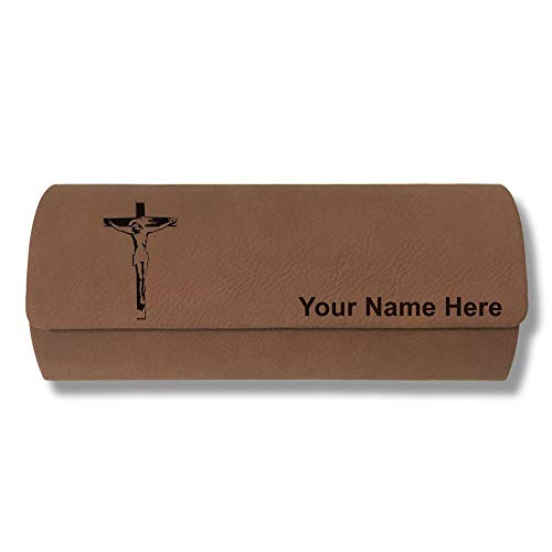 (Sunglass Case, Jesus on the Cross, Personalized Engraving Included (Dark Brown))