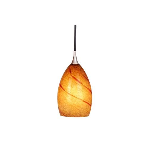 Vaxcel PD30119SN Milano Mini Pendant with Lava Swirl Glass, 4-1/4, Satin Nickel Finish -