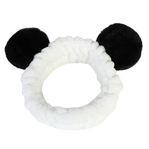 iNoDoZ Women Lovely Fluffy Elastic Hair Band Band Panda Bear Cute Head Hair Band Headwear Black -