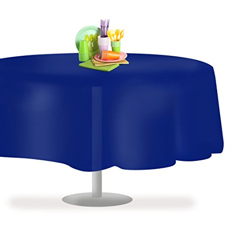 "Navy Blue 6 Pack Premium Disposable Plastic Tablecloth 84"" Inch Round Table Cover By Grandipity"