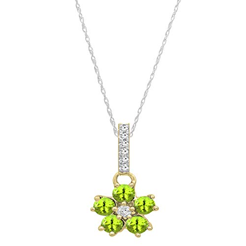 Dazzlingrock Collection 10K Round Peridot & Diamond Ladies Cluster Flower Pendant (Silver Chain Included), Yellow ()