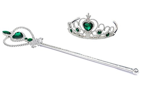 Kuzhi Frozen Crown Tiara and Wand Set - Silver Heart Jewel (Emerald)