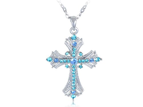 alilang-silvery-tone-religious-cross-pendant-necklace-w-aquamarine-blue-or-clear-crystal-rhinestones