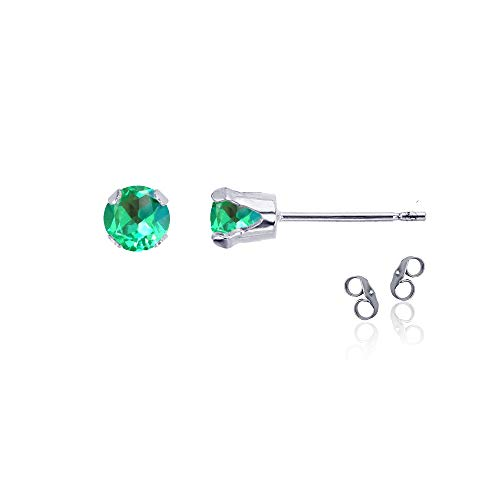 Sterling Silver Rhodium 4mm Round Created Green Sapphire Birthstone Stud Earrings