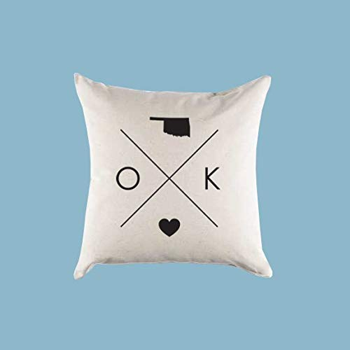 King65irginia Home Decor Gift Oklahoma OK Home State Pillow Cover Or PillowcaseSquare Cushion Case for Sofa Bedroom 18 x 18 Inch