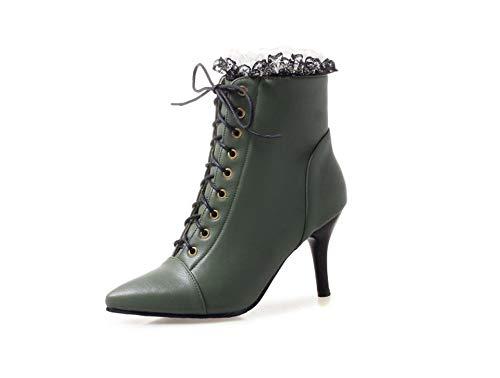 satisfied Women's Lace Bridal High Heel Platform,Wedding Shootie(Green-38/6.5-7 B(M) US Women)