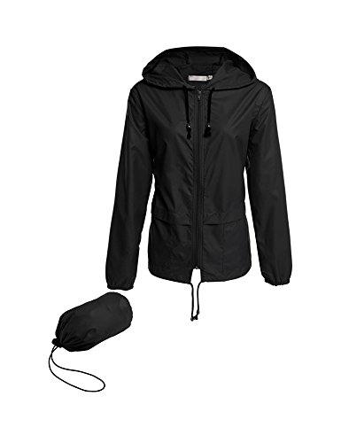 b2b3bda7b5d Lightweight Waterproof Raincoat For Women Windbreaker Packable Outdoor  Hooded Rain Jacket (L