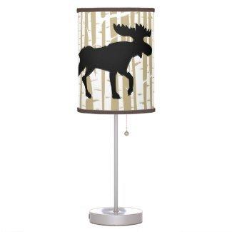 Birch Tree Moose Silhouette Rustic Desk Lamp (Moose Silhouette Table Lamp)