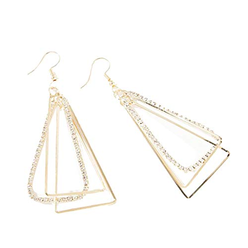 Longay Geometric Three-Dimensional Triangular Metal Zircon Earrings ewelry (Gold)