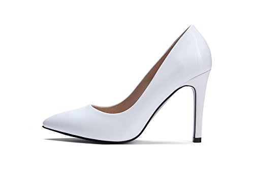 AllhqFashion Womens Spikes Stilettos Solid Pull On Pointed Closed Toe Pumps-Shoes White whZZbWjs
