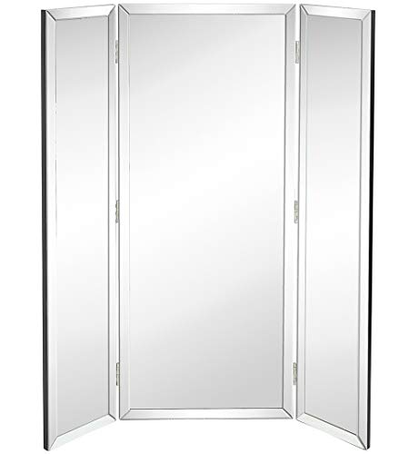 Tall Full Length Trifold Mirror | Solid Hinged Sided Tri-fold Beveled Mirrored Edges | 3 Way Hangable on Wall or Standing Dressing Mirror 40