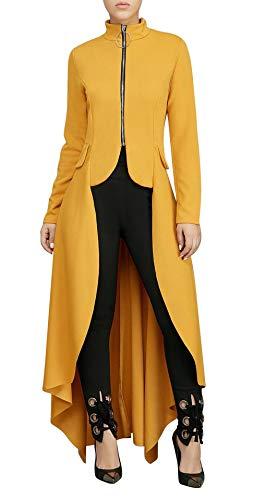 Ruffled Dress Coat - LKOUS Womens Jackets Ruffled High Low Hem Long Sleeve Zip Up Shirt Dress Top Coat Plus Size Yellow 2XL