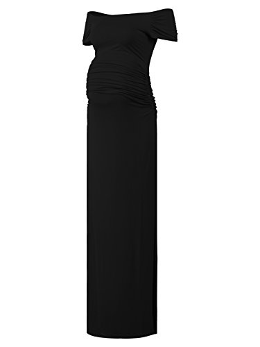 Off Shoulder Short Sleeve Maternity Casual Maxi Dress ()