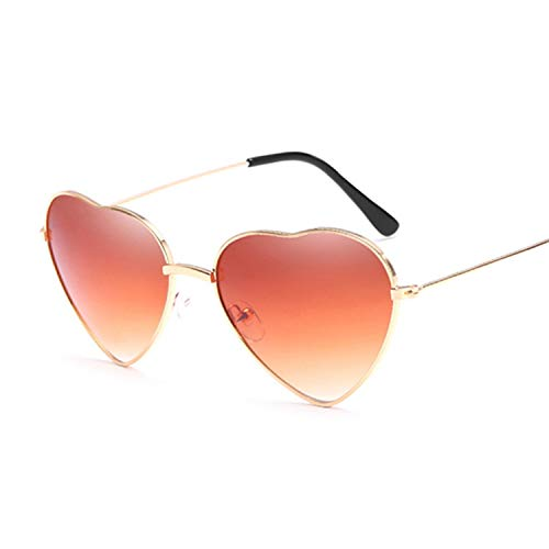 Heart Shaped Sunglasses Women Small Size Lady Metal Reflective Ties Sun Glasses Female,Double ()