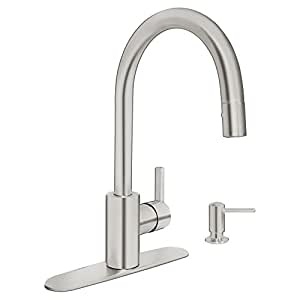 Grohe 30126dc0 feel kitchen pull down supersteel value pack includes soap dispenser and 10 - Grohe kitchen faucets amazon ...