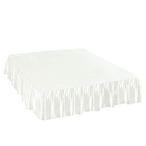 PiccoCasa Satin Silk Bed Skirt 300 Thread-Count Dust Ruffle with 14 Inch Drop - Cream White, King Size: 78 x 80 Inch