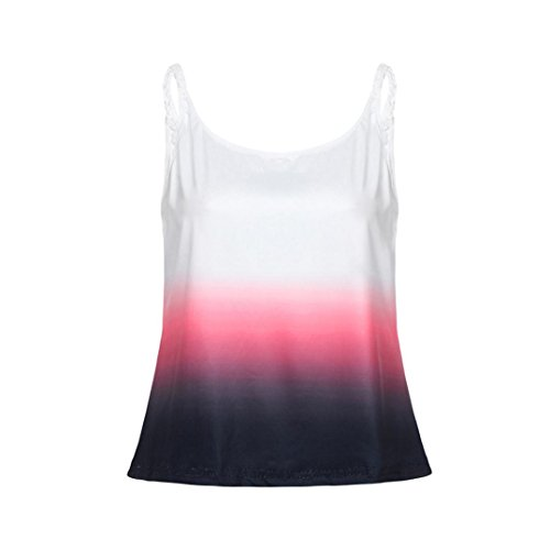 MEEYA Women's Gradient Sleeveless Camisole Top Womens Casual Gradient Color Sleeveless Vest Shirt Tank Blouse Tunic (Lycra Jewel Neck Short)