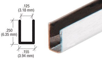 CRL 1/8'' Opening 1/4'' Height Stainless Steel ''U'' Channel - Pack of 10 - 12 ft Each