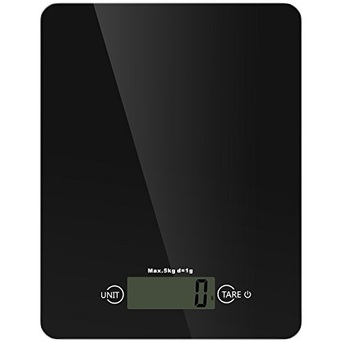 Nuovoware Digital Kitchen Scale, Tempered Glass Platform Food Scale, 11lb 5kg High Precision Electronic Kitchen Scale with LCD Display, 4 Units and Tare Function - Black
