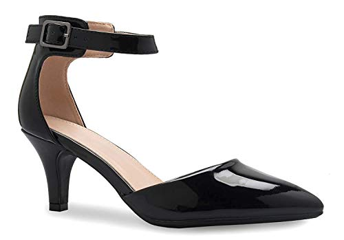 Women's Heel Pumps Ladies Closed Pointed Toe Ankle Strap Dress Stiletto Pump Shoes Sunrise38 Black Patent PU 8.5